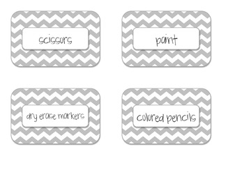 Grey Chevron Supply Labels