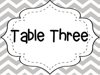 Gray Chevron Table Numbers