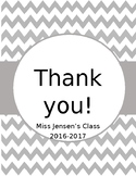 Grey Chevron Thank You Book Cover Page