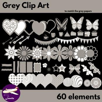 Grey Clip Art Decoration Scrapbooking Elements - 60 items