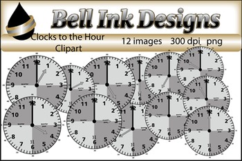 Grey Clocks to the Hour Clipart