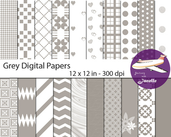 Grey Digital Papers for Backgrounds, Scrapbooking and Classroom Decorations