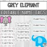 Grey Elephant Editable Printable Name Tags 3.5x3.5 for Pre