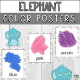 Grey Elephant Printable Color Poster Signs for PreK Presch