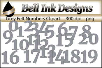Grey Felt Stitched Numbers Clipart