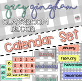Grey Gingham Classroom Decor: CALENDAR SET