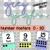 Grey Gingham Classroom Decor: NUMBER POSTERS 0 - 20