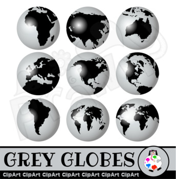 Grey Globes - World Geography Clip Art