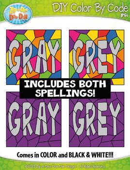 Grey / Gray Objects Color By Code Clipart {Zip-A-Dee-Doo-Dah Designs}