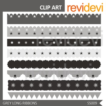 Grey Long Ribbon Clip art - seller resource - commercial use clipart