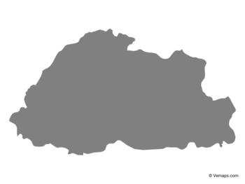 Grey Map of Bhutan