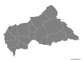 Grey Map of Central African Republic with Prefectures