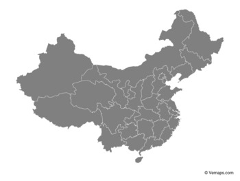Grey Map of China with Provinces