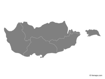 Grey Map of Cyprus with Districts