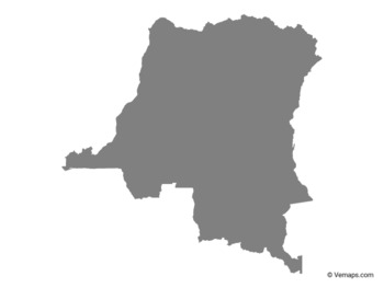 Grey Map of Democratic Republic of the Congo