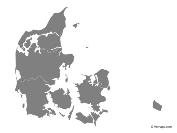 Grey Map of Denmark with Regions