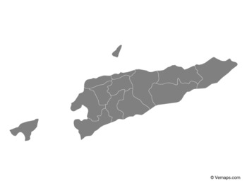 Grey Map of East Timor with Municipalities