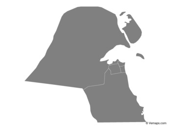 Grey Map of Kuwait with Governorates