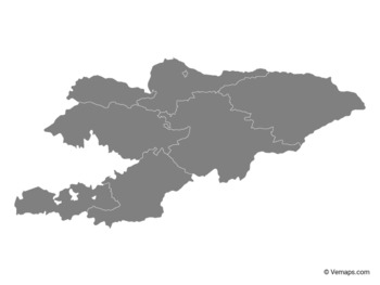 Grey Map of Kyrgyzstan with Regions