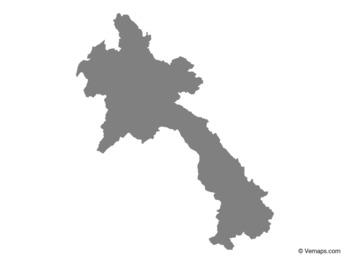 Grey Map of Laos