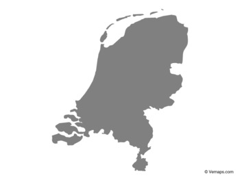 Grey Map of Netherlands