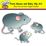 Grey Farm Mouse and Baby Clip Art