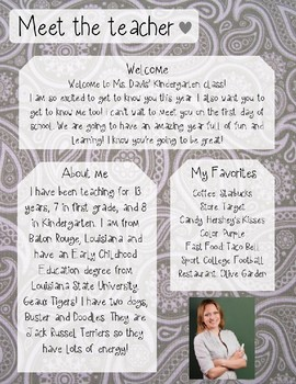Grey Paisley Meet The Teacher Template **Editable**