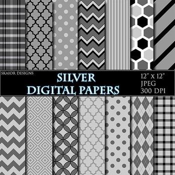 Grey Pink Digital Papers Gray Papers Geometric Scrapbooking Printable Silver