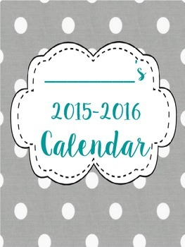 Grey Polka Dot 2015-2016 School Calendar - Matching Set to Binder Covers