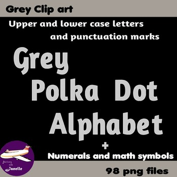 Grey Polka Dot Alphabet Clip Art + Numerals, Punctuation and Math Symbols