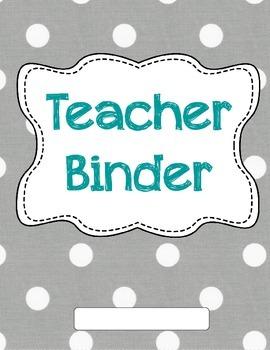 Grey Polka Dot Teacher Binder Covers