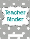 Grey Polka Dot Teacher Binder Covers