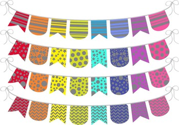 Grey Rainbow Banner - Digital Clip Art (135)