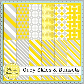 Grey Skies & Sunsets Digital Papers