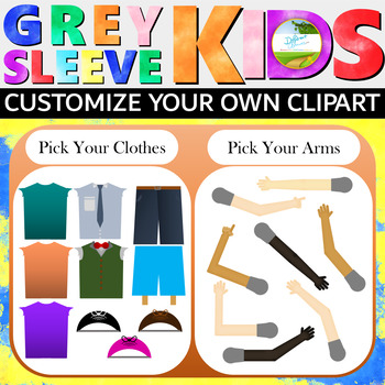 Grey Sleeve Kids Base Pack, Clipart Kids, Create Your Own Poses and Customize