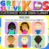 Grey Sleeve Kids Base Pack, Clip Art Kids, Create Your Own