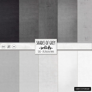 Grey Solid Digital Papers, Gray Background Papers, Black S