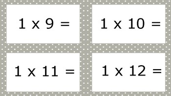 Grey Spotty Times Tables Flash Cards