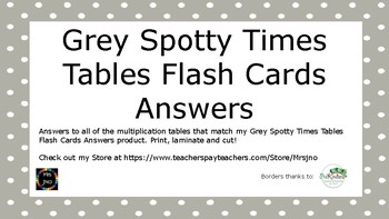 Grey Spotty Times Tables Flash Cards Answers