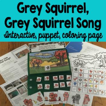 Grey Squirrel, Grey Squirrel,  Circle Time Song, File Folder, Interactive