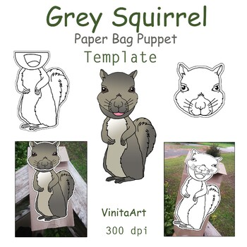 Grey Squirrel paper bag puppet template
