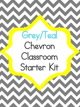 Grey Teal Chevron Starter Kit Alphabet, Numbers, Behavior, Jobs, etc.