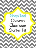 Grey Teal Chevron Starter Kit Alphabet, Numbers, Behavior,