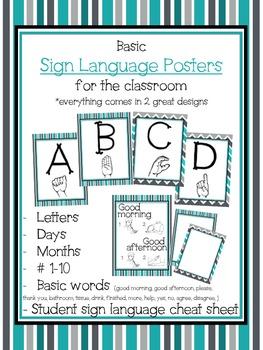 Grey & Teal Sign Language Poster Set