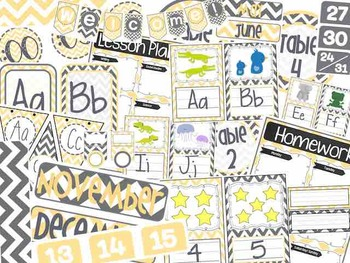 Grey, White, & Yellow Chevron Classroom Bundle