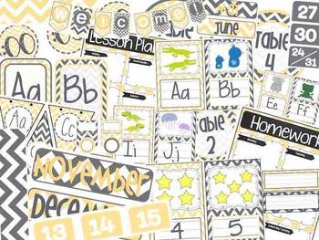 Grey, White, & Yellow Chevron Classroom Bundle