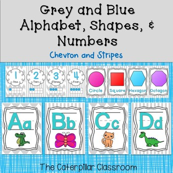 Grey and Blue Alphabet, Numbers, & Shapes Classroom Decoration