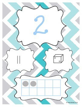 Grey and Blue Chevron Number Posters 1-20