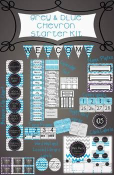 Grey and Blue Chevron Starter Kit with Editable Teacher Binder