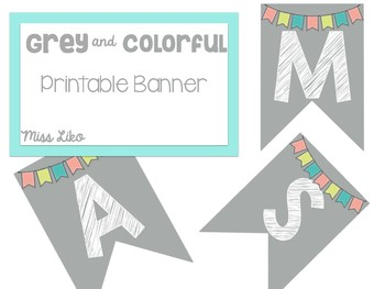 Grey and Colorful Printable Banner